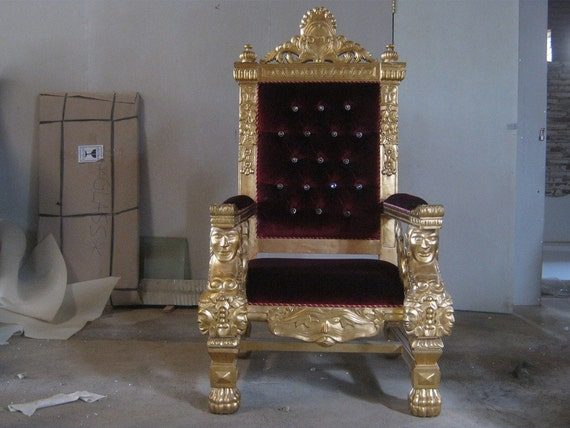 Tokyo BRAND NEW King & Queen Throne Chair for weddings - Gold Leaf with Red Velvet