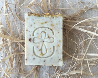 Pot Marigold Soap -  Gentle Exfoliating Soap - HandMade Soap - Calendula Flowers