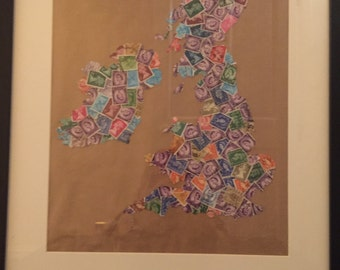 Postage stamp map of the British Isles 40 x 50cm