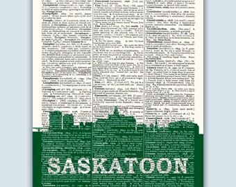 Saskatoon Skyline, Saskatoon Poster, Saskatoon Decor, Saskatoon Print, Saskatoon Wall Art, Saskatoon Gift, Saskatoon Canada