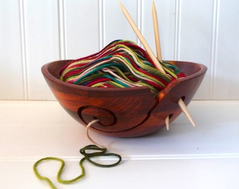Wooden Yarn Bowl for Knitting and Crocheting