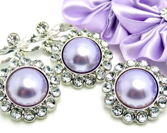 LAVENDER Rhinestone Pearl Buttons Acrylic Shiny W/ Clear Surrounding Rhinestones Button Brooch Bridal Button Hair accessory 26mm 3185 22P 2R