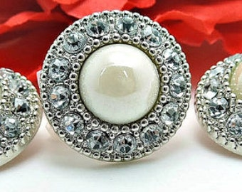 Shiny IVORY Pearl Buttons W/ AB Surrounding Rhinestones Silver Acrylic Rhinestone Buttons Wedding Garment Fashion 25mm 3367 91P 2R