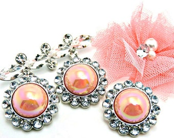 Shiny AB Iridescent Peach Pearl Rhinestone Acrylic Buttons W/ Crystal Clear Surrounding Rhinestones DIY Button Bouquet 6mm 3185 59P 2R