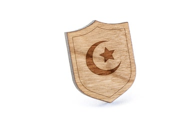 Islam Symbol Lapel Pin, Wooden Pin, Wooden Lapel, Gift For Him or Her, Wedding Gifts, Groomsman Gifts, and Personalized