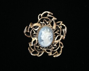 Vintage Cameo Brooch-Vintage Cameo Jewelry-Blue Cameo-Flower Cameo Brooch