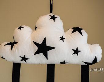 Hair bow holder, Hair bow organizer- Black star cloud cushion
