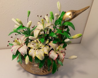 Bronze Swan Filled with Tiger Lilies