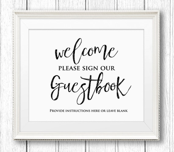 Free Wedding Sign Templates: Wedding Guestbook Sign Printable Wedding Guest Book Sign