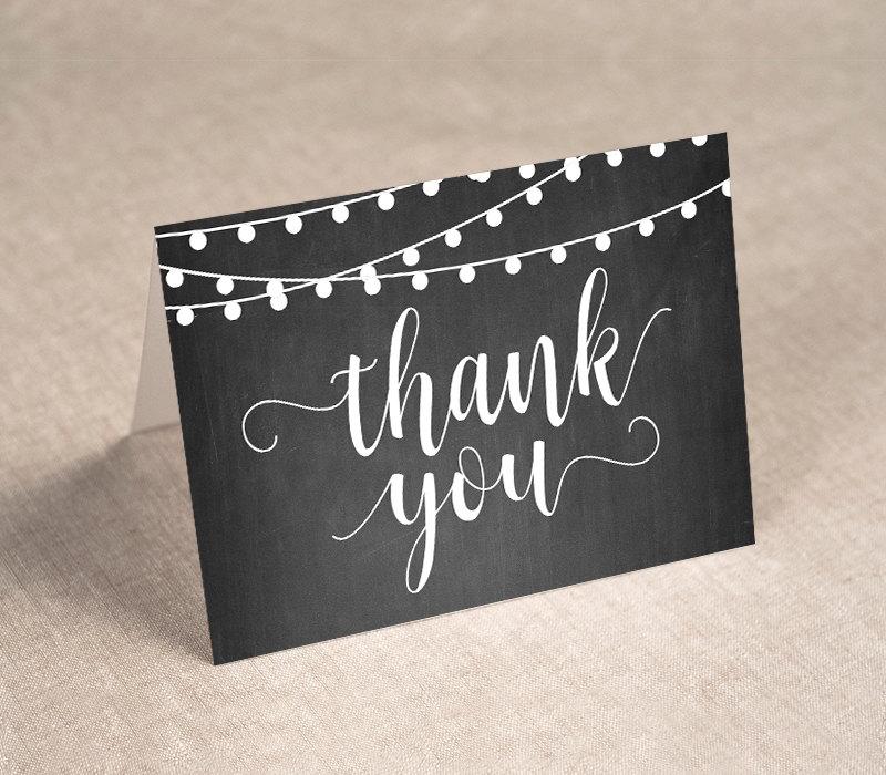 Chalkboard Wedding Invitation Template: Printable Thank You Card Template, Chalkboard String