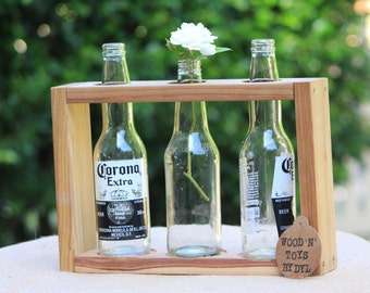 Handmade Wooden Vase - for 3 x beer bottles