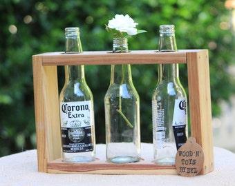 Handmade Wooden Vase - for 3 x beer bottles
