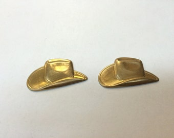 Brass Stamping - Large Brass Cowboy Hat - Set of 2