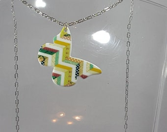 CLEARANCE Patchwork butterfly necklace