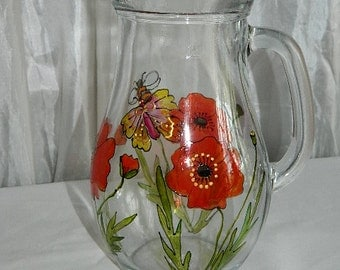 Hand painted glass jug