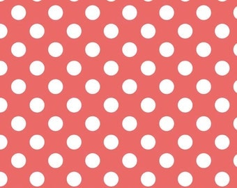 Riley Blake Medium Dot, White on Coral,  fabric by the yard