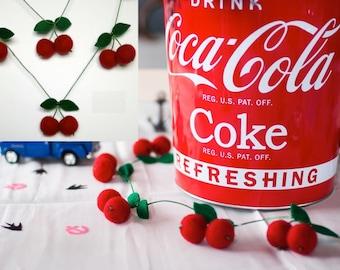 Rockabilly Retro Centrepiece Table Garland - Hot Cherry Red Handmade Felt Decoration