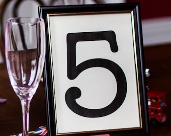 Dark Mahogany Style Wood Wedding Table Number or Name Frame with Gold Trim - 1940s Style - 8 inches by 6 inches - Picture Frame Photo Frame