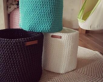 Crochet White/mint/black basket, Large round Basket, Toy Storage, Nursery Fabric Basket, Storage Bin, Toy Basket, modern decor