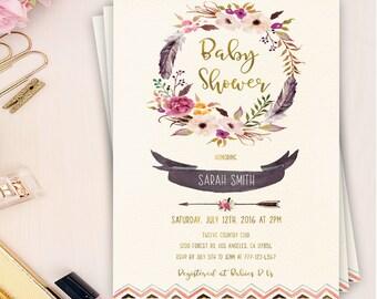 boho baby shower invitation, girl baby shower invitation, boho shower invitation, bohemian baby shower invitation, printable invitation