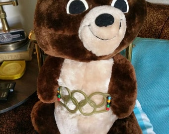 Vintage R Dakin handcrafted Moscow Olympics Misha mascot bear. In mint condition with original tags  18 inches tall