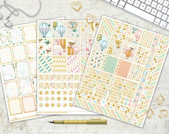 Hot Air Balloons Printable Planner Stickers Daily Planner Stickers Gold Glitter Bird Feathers Arrows Pink Blue Cream 8.5x11 Instant Download
