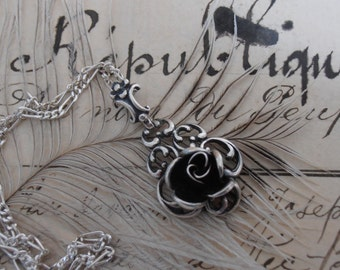Vintage TEKA Sterling Silver Rose Pendant Necklace by Theodor Klotz - Germany