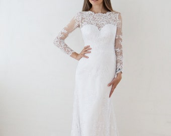 Mermaid wedding dress, Samanta wedding dress, long sleeves wedding dress, buttons back wedding dress, close wedding dress, long tail wedding
