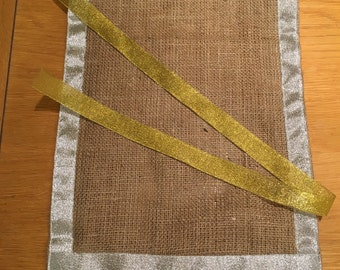 Sparkly Trim Hessian Table Runner, Fully Hemmed, 30cm Wide, Sparkle Theme Table