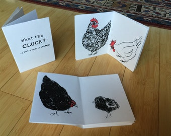 What the Cluck silkscreen zine of chickens