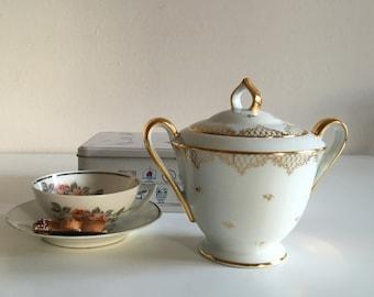 Pot with sugar in porcelain, vintage, Limoges porcelain, Jacobs
