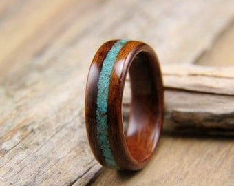 Bentwood Ring - Santos Rosewood with Turquoise Inlay- Handcrafted wood ring