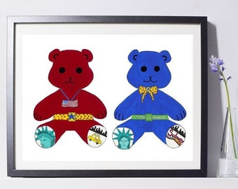 Red and Blue Bears Art Painting PSNY - Home Decor