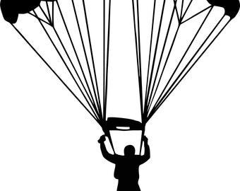 Parachuting vinyl decal