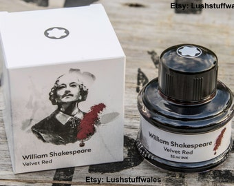 Rare Montblanc William Shakespeare Velvet Red Limited Edition Ink 35ml Bottle Out of Stock Discontinued