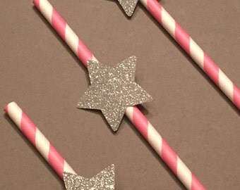 12 Silver Glitter Star Party Straws Gold Heart Straws Baby Shower Straws Wedding Shower Straws Birthday Straws Bachelorette Straws