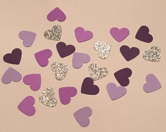 200 Purple and Silver Heart Confetti Glitter Confetti Shower Confetti Heart Confetti Silver Confetti Purple Confetti Birthday Decor