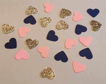 225 Heart Confetti Pink Navy Gold Confetti Glitter Confetti Bridal Shower Confetti Wedding Confetti Anniversary Confetti Pink and Navy