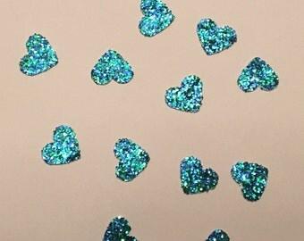 200 Turquoise Green Heart Confetti Heart Confetti Glitter Confetti Shower Confetti Baby Confetti Wedding Confetti Birthday Confetti Peacock