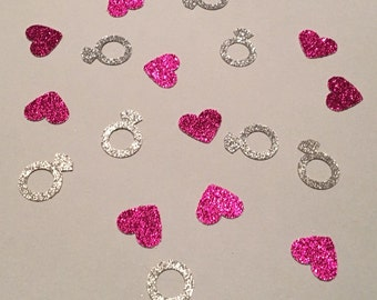 200 Diamond Ring and Hearts Confetti Glitter Confetti Shower Confetti Wedding Confetti Bachelorette Party Engagement Confetti