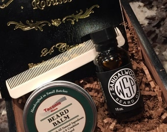Beard Grooming Gift Box, Unique Groomsmen Gift, Groomsmen Gift, Beard Care Kit, Beard Balm, Beard Oil, Beard Comb, Birthday Gift For Him.