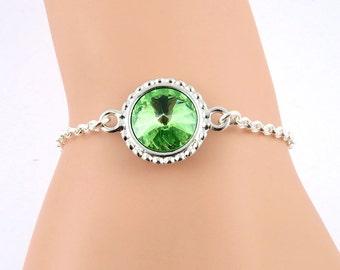 Peridot Crystal Bracelet, August Birthstone Bracelet, Peridot Bracelet, Green Bracelet, Peridot Jewelry, Swarovski Crystal Birthstones