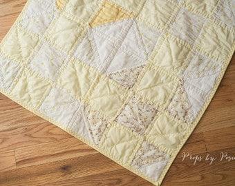 Newborn Prop Layer - quilt piece, Yellow Vintage Quilt Layer