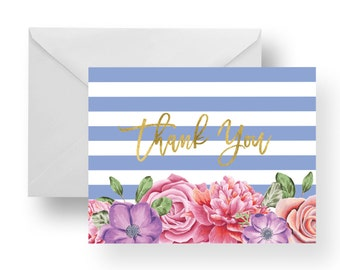 Thank You Cards Floral + Lilac Stripes + Gold (Set), stationery, note card set, stripe note cards, flower note cards, floral note cards