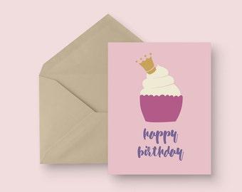 Happy Birthday Greeting Card - Cupcake Royalty - Pink and Purple - Kid's Birthday - Girl's Birthday - Illustrated Greeting Card