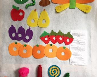 The Very Hungry Caterpillar Felt Food Set/Felt Board Activity Set/ Flannel Board/Educational/Preschool/Creative Play/Teaching Set