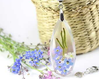 Forget-me-not Necklace, Pressed Flower,  Real Forget-Me-Not Flower, Forget me not Pendant, Resin Jewelry, Birch Tree Flower, Resin Necklace