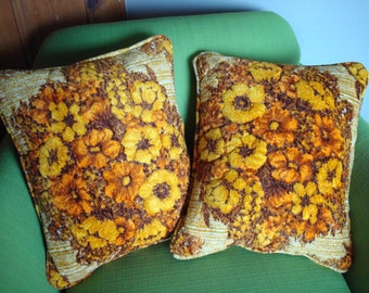 Vintage 70s Floral Throw Pillows Set of 2