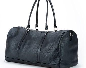 Leather Holdall Overnight Bag 24hr Bag Weekender Bag Soft Black Leather