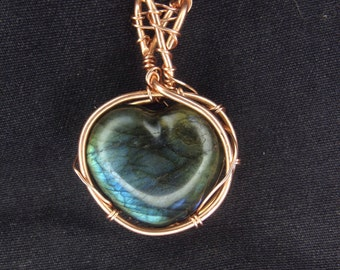 Labradorite Heart Copper Pendant